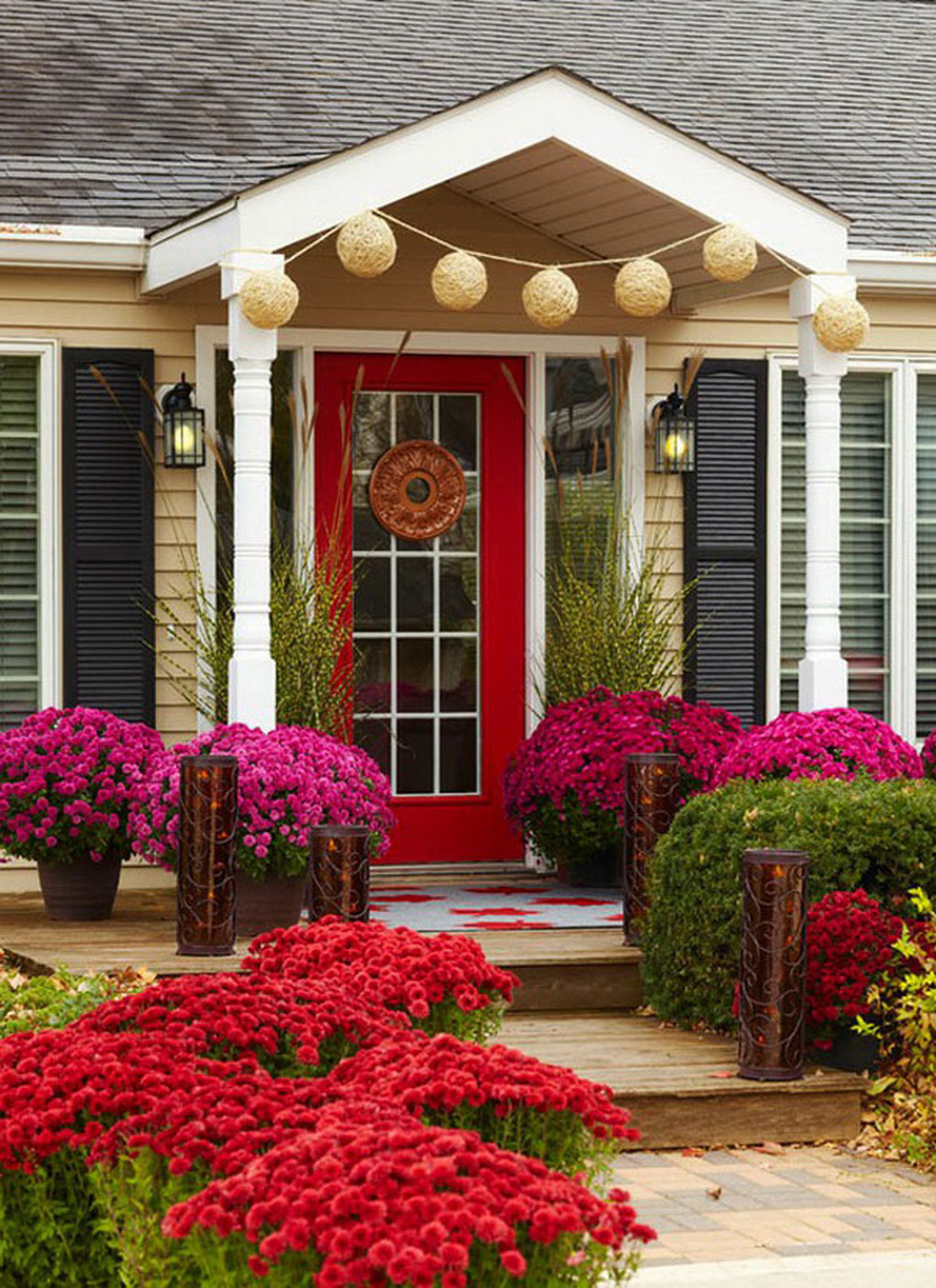 fantastic-mum-flowers-and-hanging-ball-ornament-with-cool-red-front-door-ideas-plus-walkway-lighting