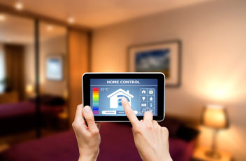 Remote home control system on a digital tablet.